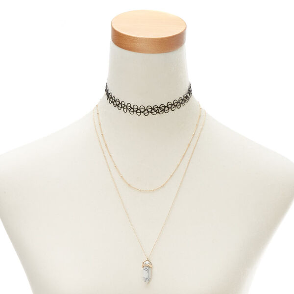 Claire's - marble stone necklace set - 1