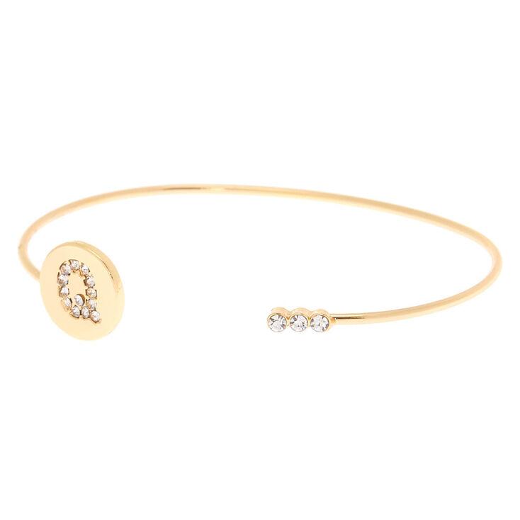 Gold Initial Cuff Bracelet - Q,