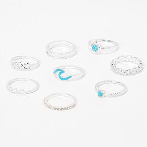 Sky Brown™ Silver Rings - 8 Pack,