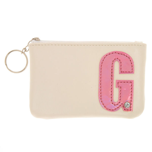 Claire's - faux leather pink initial coin purse - 1