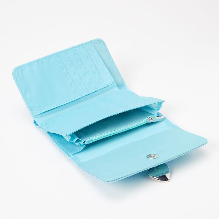 Glitter Bow Heart Charm Wallet - Mint,