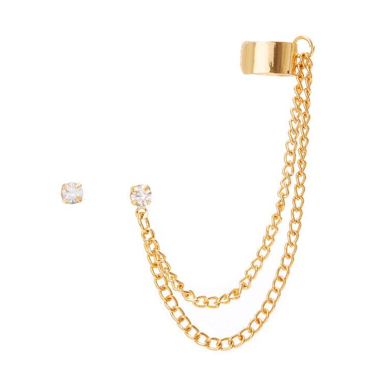 Gold Tone Chain Ear Cuff Crystal Stud Earrings Set