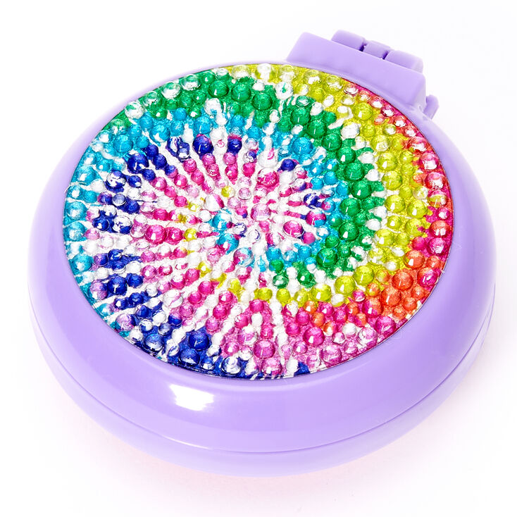 Brosse à cheveux rétractable bling bling tie dye arc-en-ciel - Violet,
