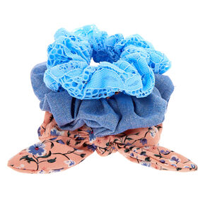 Small Denim Floral Lace Knotted Bow Hair Scrunchie - 3 Pack,