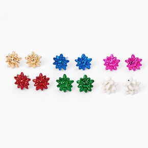 Gift Bow Stud Earrings - 6 Pack,