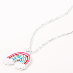 Silver Cloud Rainbow Pendant Necklace,