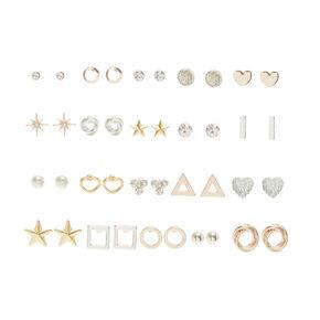 Mixed Metal Stud Earring Set - 20 Pack,
