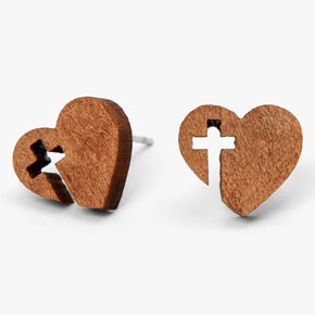 Heart Cross Wooden Stud Earrings,