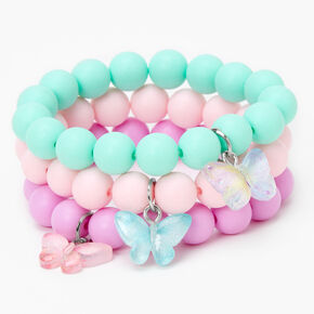 Claire's Club Butterfly Beaded Stretch Bracelets - Matte, 3 Pack,