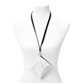 White Marble Wallet with Lanyard,