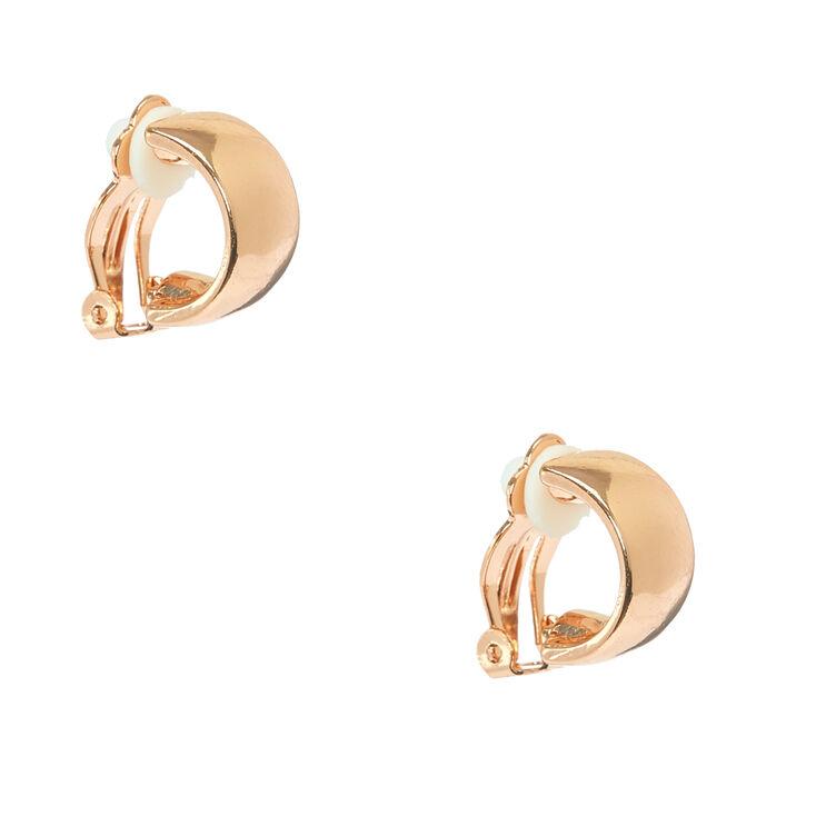 Rose Gold 10MM Clip On Hoop Earrings,