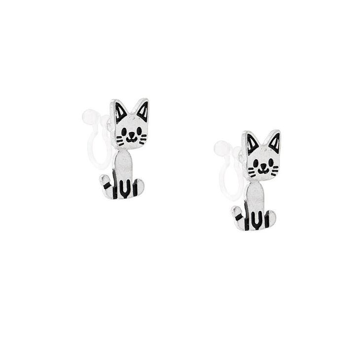 Silver Moveable Cat Clip On Drop Earrings,