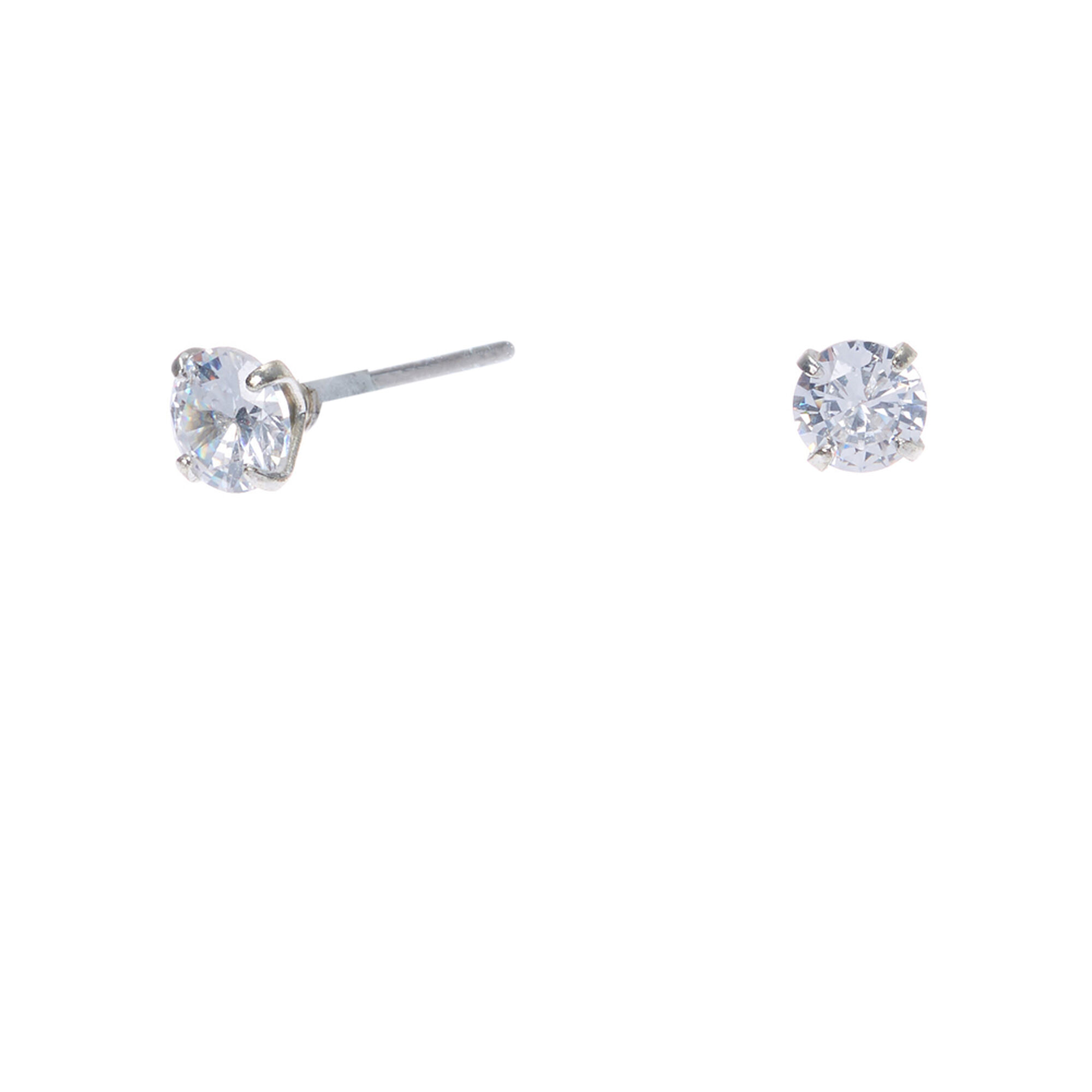 Silver Cubic Zirconia Round Stud Earrings - 4MM
