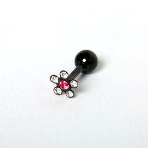 Stainless Steel 16G Flower Tragus Stud Earring - Black,