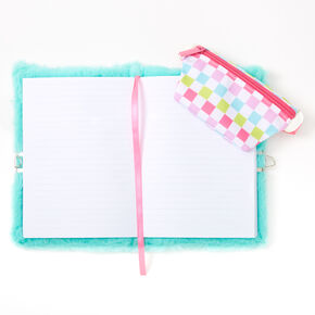 Plush Cat Checkered Bum Bag Lock Diary - Mint,