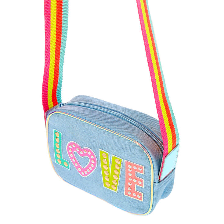 Rainbow Love Denim Crossbody Bag,