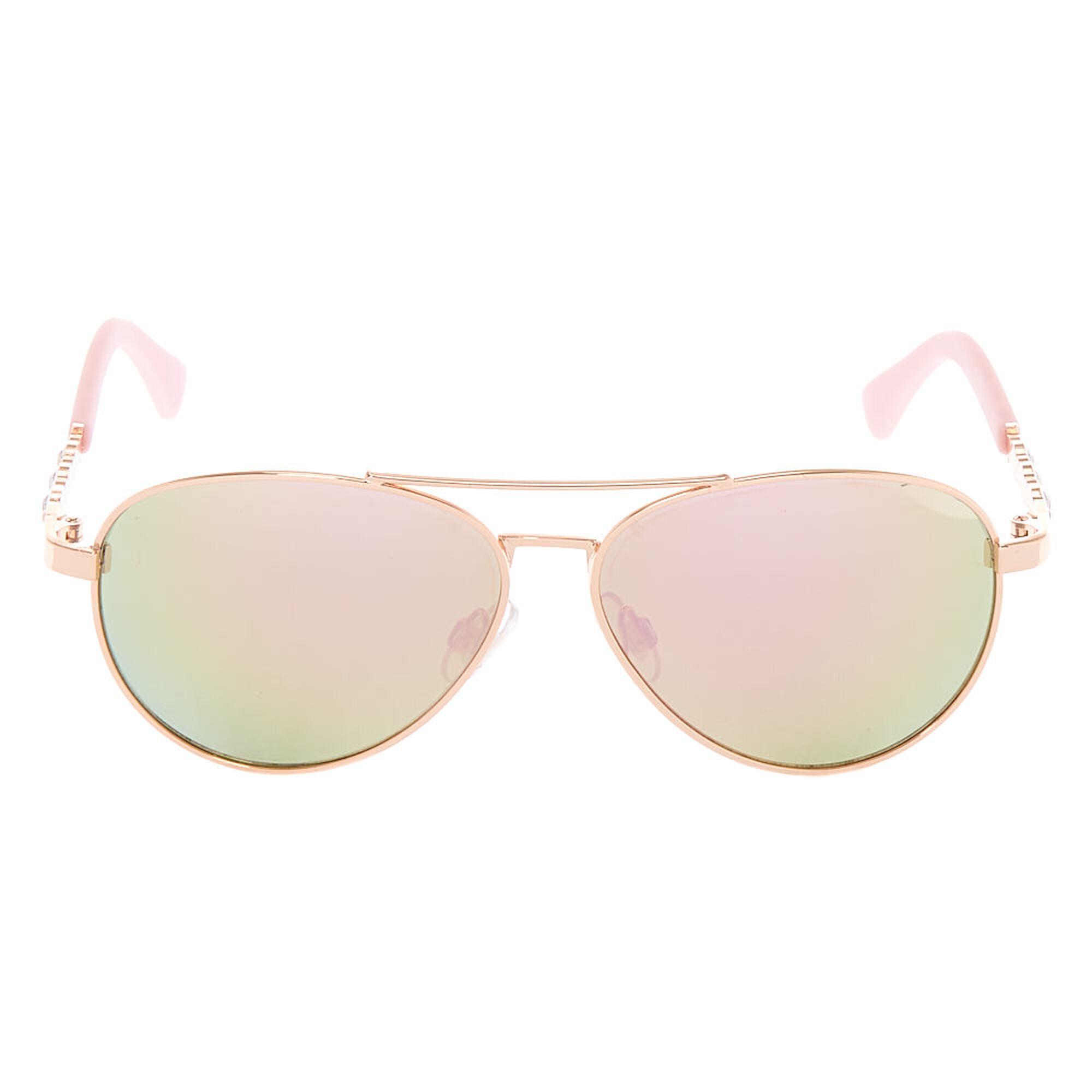 3afdb717f6 ... Claire  39 s Club Rose Gold Gem Aviator Sunglasses - Pink