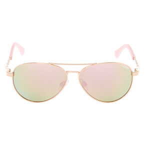 3704131655b Claire s Club Rose Gold Gem Aviator Sunglasses - Pink