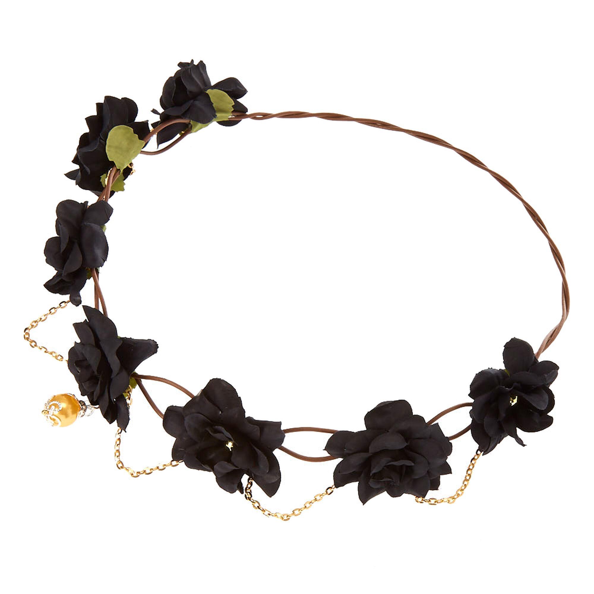 Gold chain flower crown headwrap black claires us gold chain flower crown headwrap black izmirmasajfo