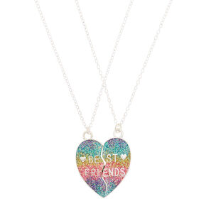 ab02715e94 Best Friends Rainbow Heart Glitter Pendant Necklaces - 2 Pack