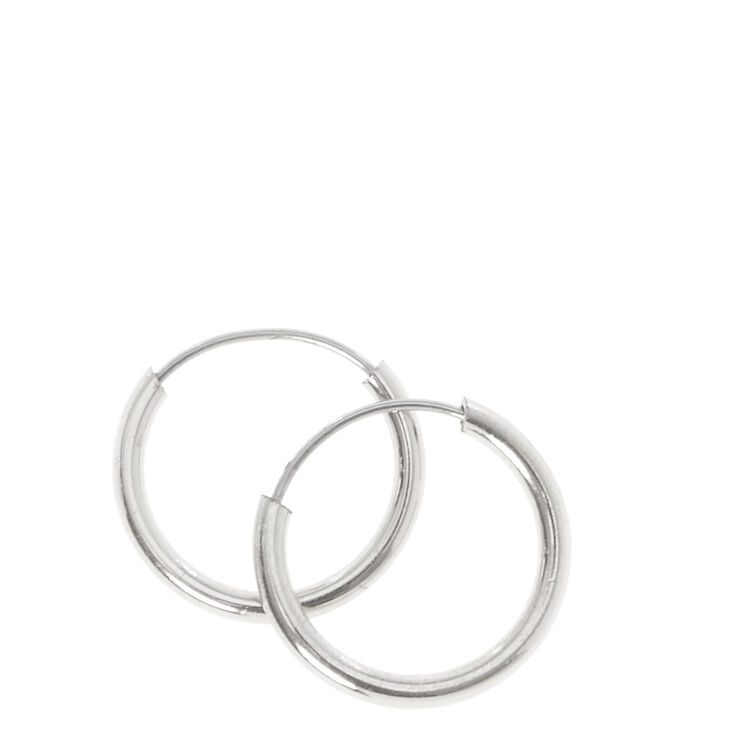 Silver 10MM Hoop Earrings,
