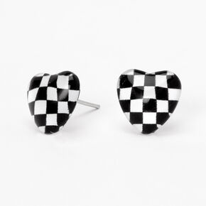 Checkered Heart Stud Earrings,