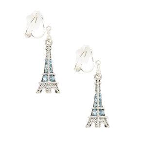 Blue Crystal Studded Eiffel Tower Clip On Drop Earrings,