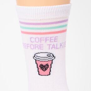 Coffee Before Talkie Crew Socks - White,