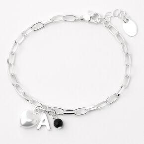 Silver Initial Beaded Heart Charm Chain Bracelet - Black, A,