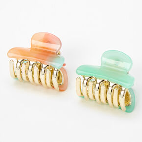Mini Rainbow Watercolor Hair Claws - Pastel, 2 Pack,