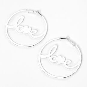 Créoles «Love» en lettres cursives couleur argentée,