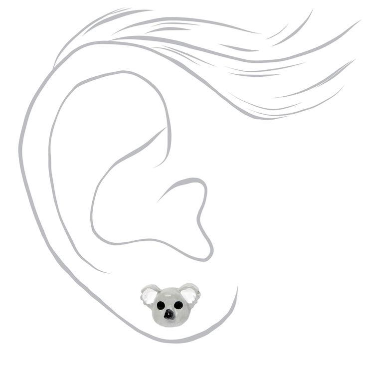 Silver Koala Stud Earrings - Grey,
