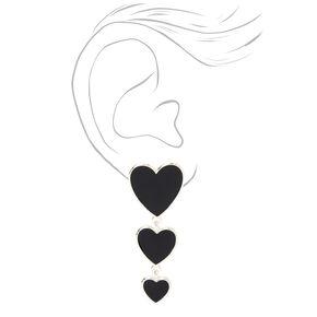 Pendantes en émail triple cœur couleur argentée - Noir,