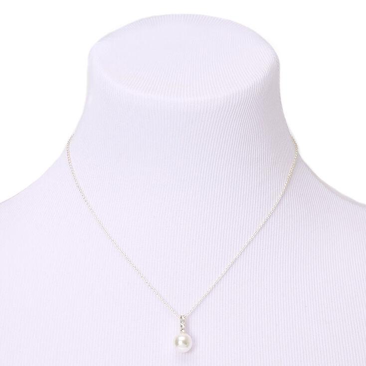 Parure de bijoux barre perle d'imitation couleur argentée - Lot de 2,