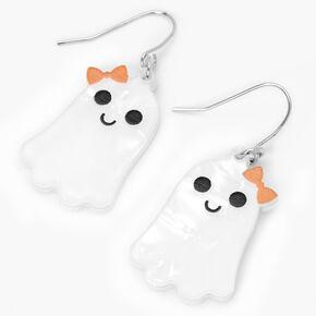 """Silver 1"""" Halloween Ghost Drop Earrings,"""