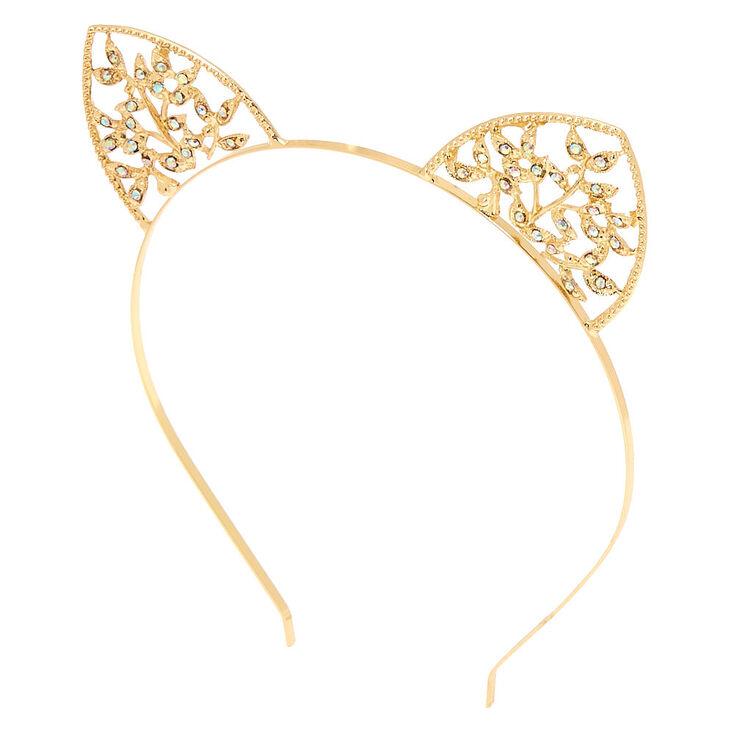 Serre-tête oreilles de chat couleur doré façon lierre,