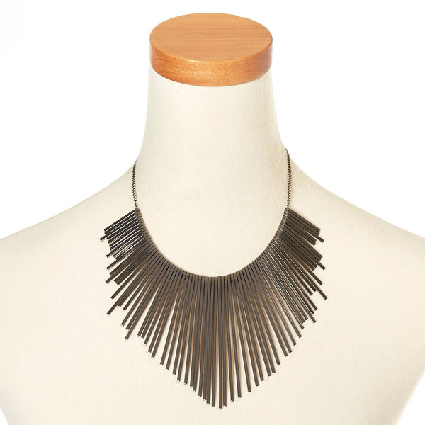 Claire's - hematite bars statement necklace - 2