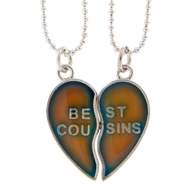 Best Cousins Mood Heart Pendant Necklaces