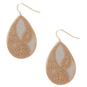 """Gold 1.5"""" Glitter Filigree Drop Earrings - Silver,"""