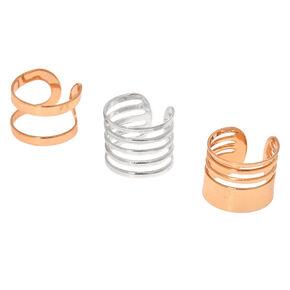 Mixed Metal Wire Ear Cuff Earrings - 3 Pack,