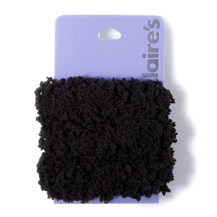 Solid Fuzzy Hair Ties - Black, 3 Pack,