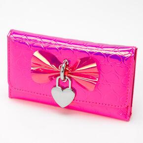Vinyl Heart Printed Wallet - Pink,