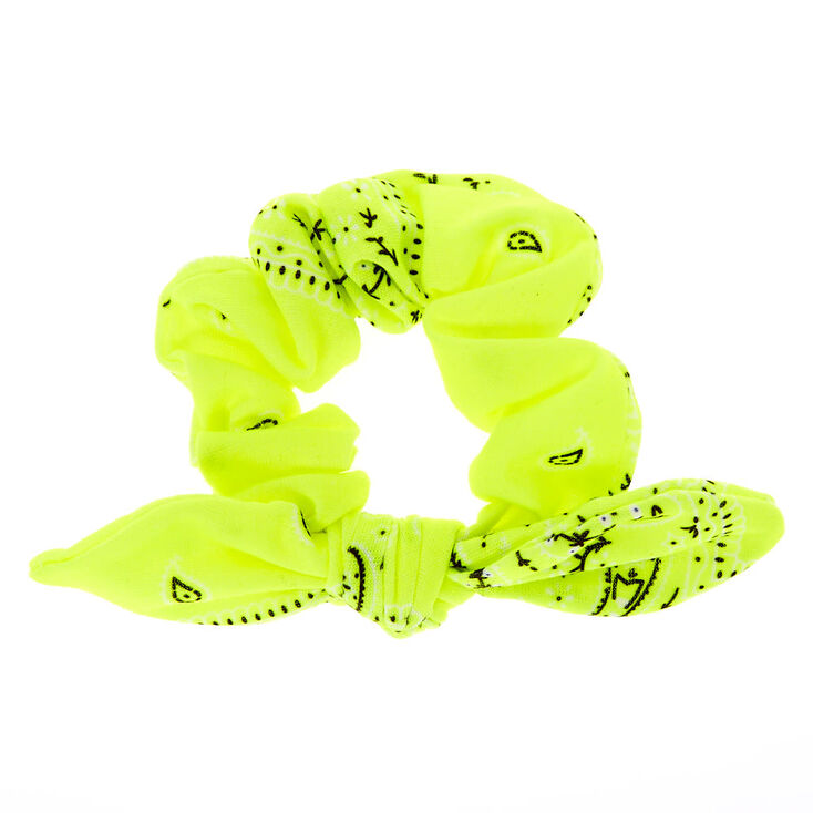 Small Bandana Knotted Bow Hair Scrunchie - Neon Yellow,