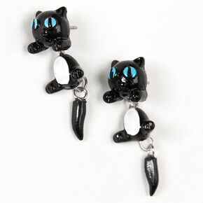 Blue Eyed Cat Front & Back Earrings - Black,