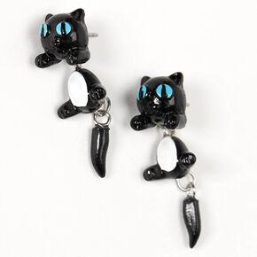Boucles d'oreilles devant derrière chat aux yeux bleus – Noir,