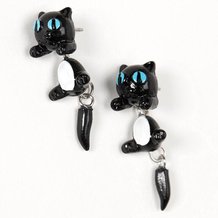 Blue Eyed Cat Front & Back Earrings - Black,