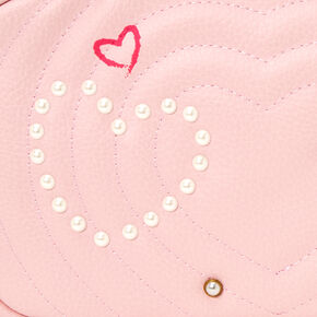 Quilted Pearl Studded Crossbody Bag - Blush Pink,