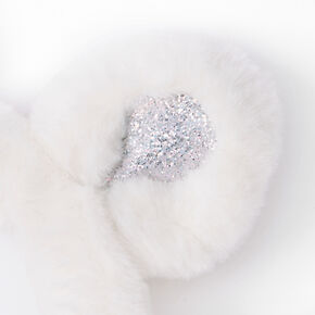 Furry Unicorn Rainbow Ear Muffs - White,