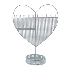 Heart Standing Jewellery Holder - White,