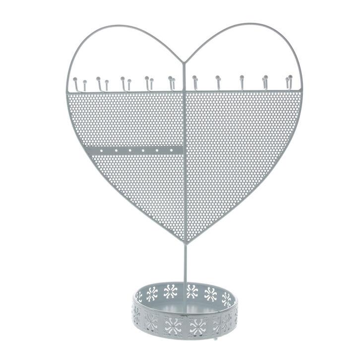 Heart Standing Jewellery Holder - White,